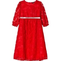 Jockochristmas dress in red lace with silver belt98 cm