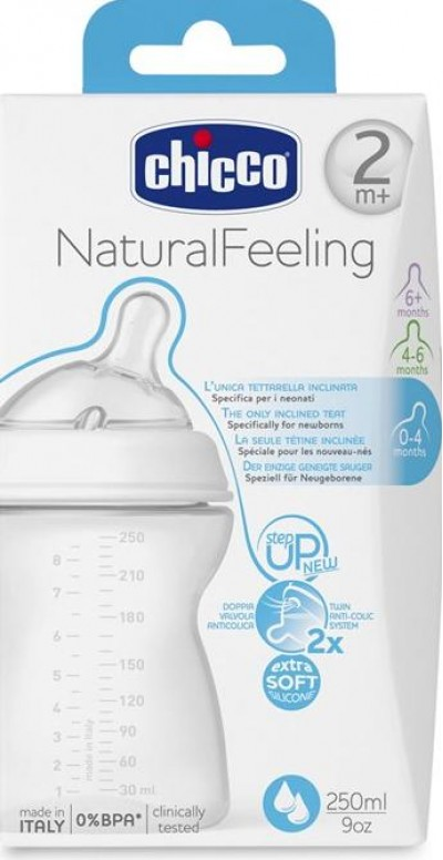 Napplflaska ChiccoNatural 2m+ Feeling ml 250
